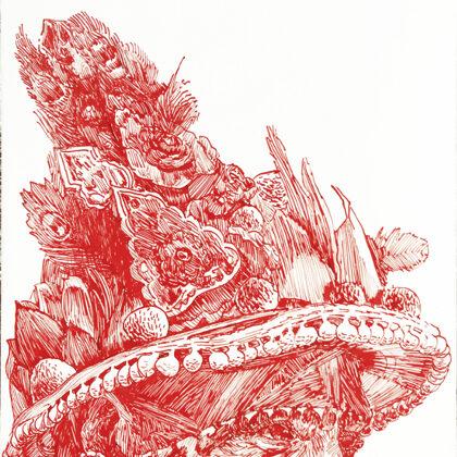 Kopf 2, 2018, Tusche auf Holz, 24 x 18 cm