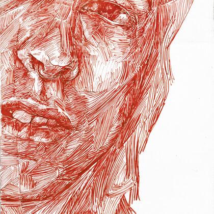 Kopf 3, 2018, Tusche auf Holz, 24 x 18 cm