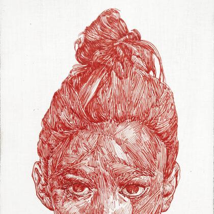 Kopf 4, 2018, Tusche auf Holz, 22,5 x 18 cm